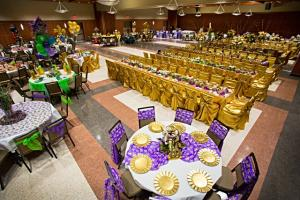 A setup for a Mardi Gras Ball in Lafayette at UL Lafayette Event Spaces.