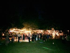 A view of an outdoor night wedding at Cypress Grove Wedding Venue in Eunice, Louisiana near Lafayette, Louisiana.