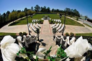 Beautiful wedding venue, The Manor in New Iberia, Louisiana, showing one of their outdoor wedding setups.