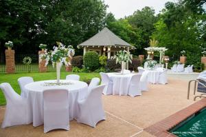 Outdoor wedding setup at the elegant wedding venue Louisiana Cajun Mansion located in Youngsville, Louisiana near Lafayette, Louisiana.