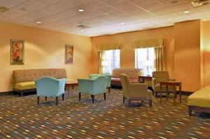 The pre-function area at the wedding venue located at Hampton Inn in New Iberia, Louisiana.