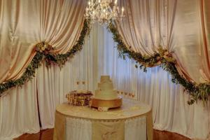 A beautiful wedding cake set up at the unique wedding venue located near Lafayette, Louisiana.