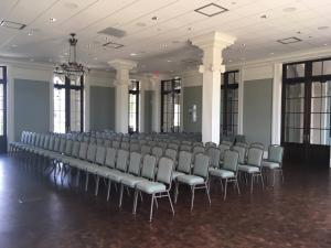 Seating setup for an indoor wedding at the wedding venue called The Majestic Hall of Walnut Grove located in Lake Charles, Louisiana.