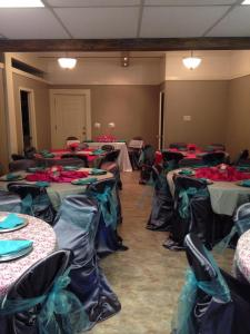 A baby shower setup at The Gathering Place of Carencro located near Lafayette, Louisiana.
