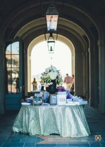 At the Majestic Hall of Walnut Grove, located in Lake Charles, Louisiana, a beautiful entrance sign in and gift table for the bride and groom.