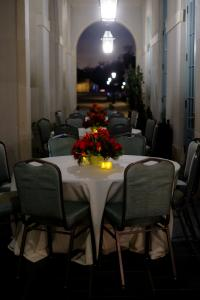 Outdoor seating setup for an event at the venue The Majestic Hall of Walnut Grove located in Lake Charles, Louisiana.