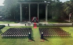 An outdoor wedding setup in the courtyard, located in Lafayette, Louisiana on the UL Lafayette campus.