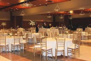 A wedding reception setup at the wedding venue at UL Lafayette Event Spaces in Lafayette, Louisiana.