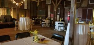 A wedding reception set up at Feed N Seed, a wedding venue located in Lafayette, LA.