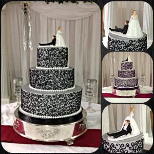 A variety of photos of a wedding cake with black trim made by Piece of Cake, a bakery located near Lafayette, Louisiana.