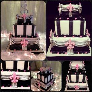 A set of wedding cake photos of a white, black and pink, made by Piece of Cake, a bakery located near Lafayette, Louisiana.