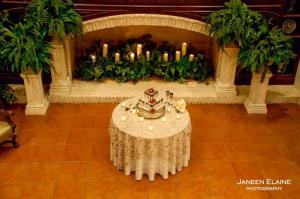 Amazing wedding cake setup at the wedding venue located in New Iberia, Louisiana called The Manor.