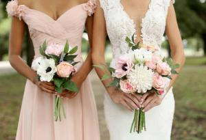 A beautiful Charlotte series with the bride and bridesmade holding the bouquets made by wedding florist, Something Borrowed Blooms, located near Lafayette, Louisiana.