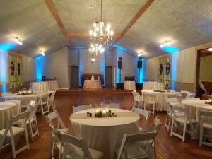 A wedding reception setup at the wedding venue, Woodlawn Chapel, located near Lafayette, Louisiana.