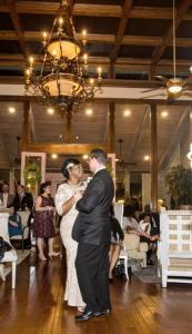 An indoor wedding reception at the beautiful wedding venue, Louisiana Cajun Mansion located in Youngsville near Lafayette, Louisiana.