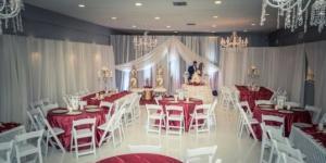 A wedding reception setup at the wedding venue, The Cove, Located near Morgan City, Louisiana in Thibodaux, Louisiana.