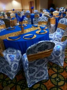 A beautiful wedding reception table setup by wedding decorator, Joann Cakelady, located in Lafayette, Louisiana.