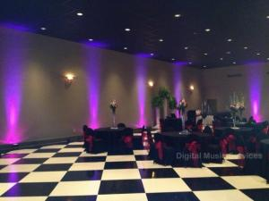 A wedding venue near Lafayette, Louisiana showing uplighting by Mike Schnauder, a DJ with Digital Music Services.