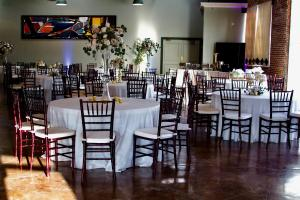 A wedding reception setup at the wedding venue, The Magdalen Place, located near Lafayette, Louisiana.