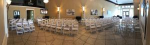 Chairs setup for a wedding at The Gem, a wedding venue located in Alexandria, Louisiana.