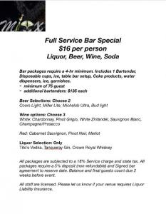 Wedding vendor located near Lafayette, Louisiana, Mixx Media Bartending price list.