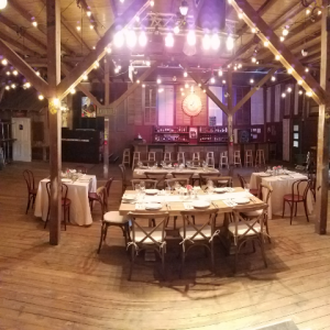 A wedding venue located in Lafayette, LA, Feed N Seed, a unique barn, rustic wedding venue set up for a wedding reception.