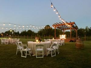 A beautiful outdoor reception held at the wedding venue near Lafayette, Louisiana, Warehouse 535.