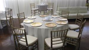 Tables and chairs set up for an event at Xclusive Events, a wedding venue located near Lafayette, Louisiana.