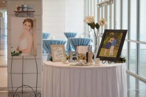 A wedding reception guests sign in table setup at the UL Lafayette Event Spaces in Lafayette, Louisiana.