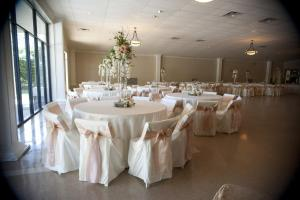 The beautiful wedding venue, Poche Bridge Country Club located near Lafayette, Louisiana is shown in this photo, decorated for a reception.