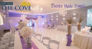 A wedding reception setup at the wedding venue The Cove located in Thibodaux, Louisiana near Morgan City, Louisiana.