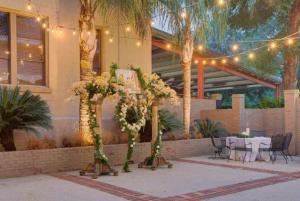An ourtdoor setup in the courtyard at the wedding venue located near Lafayette, Louisiana, The Madison.