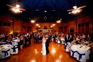 The beautiful, historic wedding venue The Madison in Lafayette, Louisiana for a wedding reception with bride and groom.