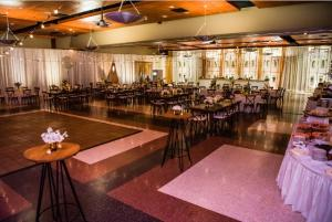 A beautiful wedding reception setup at wedding venue UL Lafayette Event Spaces located in Lafayette, Louisiana.