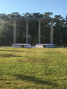 A setup for an outdoor wedding at UL Lafayette Event Spaces located in Lafayette, Louisiana.