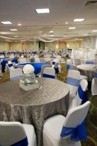 A wedding reception all setup at the wedding venue, The Wyndham Gardens of Lafayette, Louisiana.