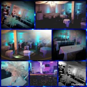 Several photos grouped together showing a wedding reception setup and sign in table, centerpieces at the wedding venue, Xclusieve Events, Lafayette, LA.