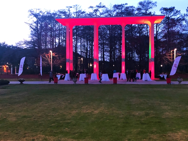 An outdoor wedding setup at UL Lafayette Student Union, located in Lafayette, Louisiana.